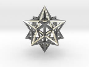 """Stellated Dodecahedron 1.6"""" in Natural Silver"""