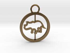 Turning Triceratops Baby Necklace in Interlocking Raw Bronze
