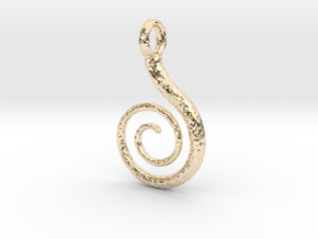 Spiral Pendant Textured in 14k Gold Plated Brass