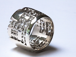 Menger Matrix Turbine Ring 21mm in Polished Silver