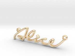 ALICE Script First Name Pendant in 14k Gold Plated Brass