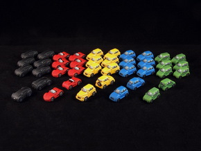 Miniature cars, 5 models x 8 (40pcs) in White Strong & Flexible Polished