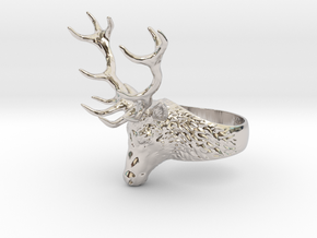 Deer Stag head ring. Hollow. in Rhodium Plated Brass: 8 / 56.75