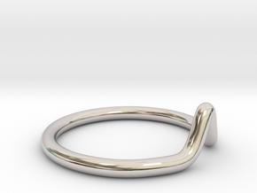 Minimalist Peak Ring in Rhodium Plated Brass: 11 / 64