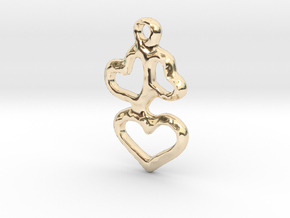 3 Hearts Pendant in 14K Yellow Gold