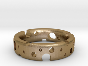 Swiss Cheese Ring in Polished Gold Steel: 4 / 46.5