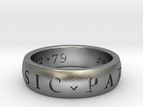 Sir Francis Drake, Sic Parvis Magna Ring Size 8.5 in Natural Silver