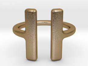 PAUSE Ring size 6 (M) in Polished Gold Steel