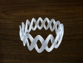 Turk's Head Knot Ring 2 Part X 15 Bight - Size 21 in White Natural Versatile Plastic