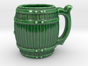Porcelain Barrel Cup in Gloss Oribe Green Porcelain