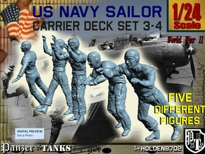 1-24 US Navy Carrier Deck Set 3-4 in White Natural Versatile Plastic