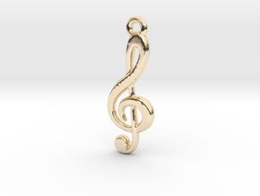 Treble Clef Pendant in 14k Gold Plated Brass