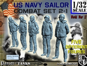 1-32 US Navy Sailors Combat SET 2-1 in Smooth Fine Detail Plastic