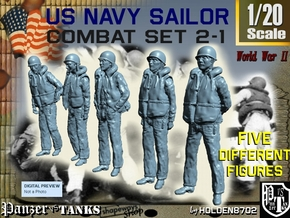 1-20 US Navy Sailors Combat SET 2-1 in White Natural Versatile Plastic