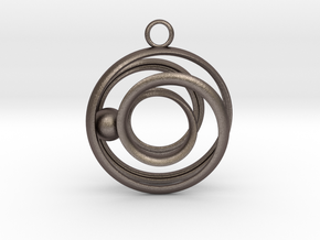 Mobius Strip - Rail and sphere in Polished Bronzed Silver Steel