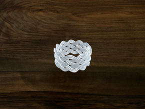 Turk's Head Knot Ring 5 Part X 11 Bight - Size 12 in White Natural Versatile Plastic