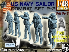 1-48 US Navy Sailors Combat SET 2-2 in Smooth Fine Detail Plastic