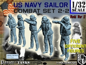 1-32 US Navy Sailors Combat SET 2-2 in Smooth Fine Detail Plastic
