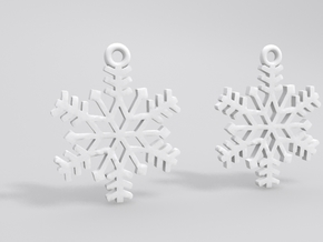 Snowflake Earrings in White Natural Versatile Plastic