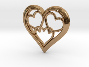 3 in 1 Hearts Pendant in Polished Brass