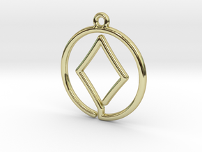 Diamond Card Game Pendant in 18k Gold Plated Brass