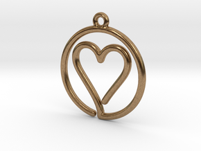 Heart Card Game continuous line Pendant in Natural Brass