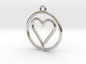 Heart Card Game continuous line Pendant in Rhodium Plated Brass