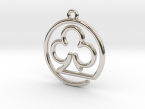 Club Card Game continuous line Pendant in Rhodium Plated Brass