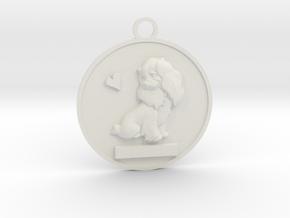 Pet Name Pendant in White Natural Versatile Plastic: Small