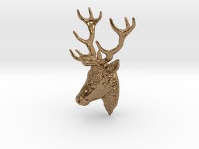 Deer head pendant in Natural Brass