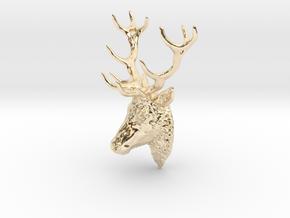 Deer head pendant in 14k Gold Plated Brass