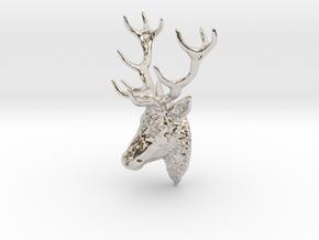 Deer head pendant in Rhodium Plated Brass