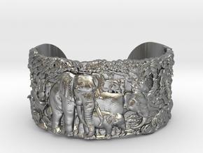 Elephants Bangle Bracelet in Raw Silver