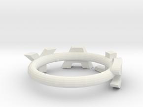 "Metallic ""slay"" ring in White Natural Versatile Plastic: 4 / 46.5"