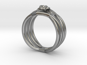 Romantic Rose ring with leaves in Natural Silver: 6 / 51.5