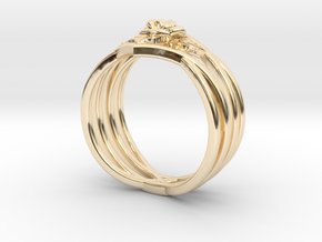 Romantic Rose ring with leaves in 14k Gold Plated Brass: 6 / 51.5