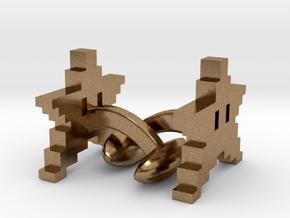 8bit STAR Cufflinks in Natural Brass
