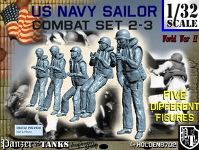 1-32 US Navy Sailors Combat SET 2-3 in Smooth Fine Detail Plastic