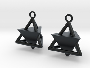 Pyramid triangle earrings Serie 2 type 3 in Black Hi-Def Acrylate
