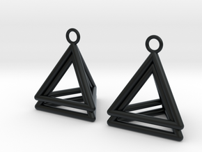 Pyramid triangle earrings type 4 in Black Hi-Def Acrylate