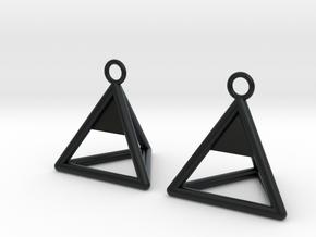 Pyramid triangle earrings Serie 2 type 1 in Black Hi-Def Acrylate