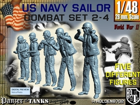 1-48 US Navy Sailors Combat SET 2-4 in Smooth Fine Detail Plastic
