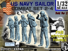 1-32 US Navy Sailors Combat SET 2-4 in Smooth Fine Detail Plastic