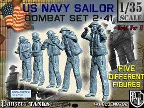 1-35 US Navy Sailors Combat SET 2-41 in Smooth Fine Detail Plastic
