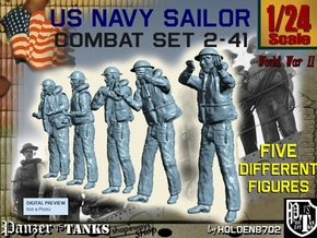 1-24 US Navy Sailors Combat SET 2-41 in White Natural Versatile Plastic