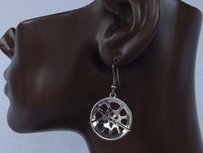 "Double Seconds ""essence"" steelpan earrings, S in Polished Silver"