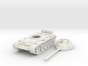 1/87 scale T-55 tank model in White Natural Versatile Plastic
