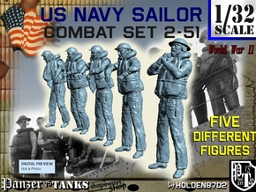 1-32 US Navy Sailors Combat SET 2-51 in Smooth Fine Detail Plastic
