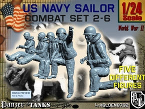 1-24 US Navy Sailors Combat SET 2-6 in White Natural Versatile Plastic