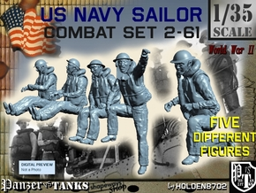 1-35 US Navy Sailors Combat SET 2-61 in Smooth Fine Detail Plastic